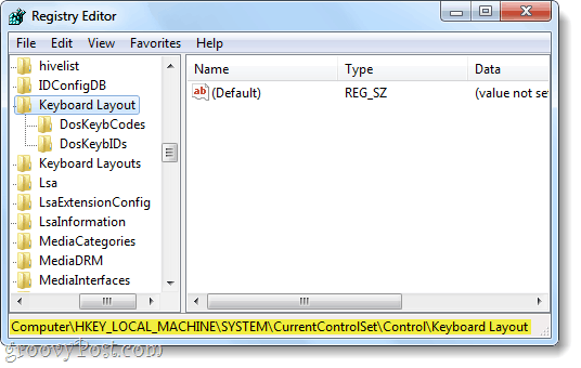 keyboard layout registry key windows 7
