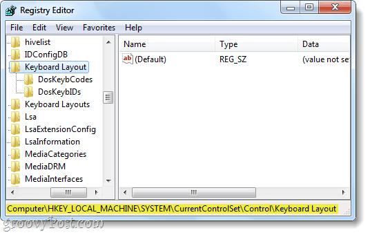 keyboard layout registry key windows 7