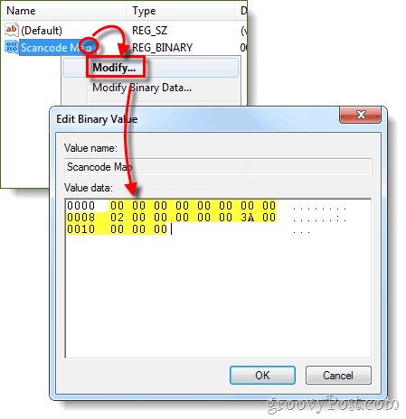 modify binary registry