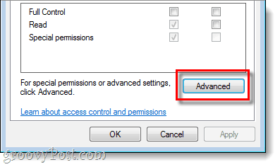 advanced permissions window for registry in wnidows 7 vista