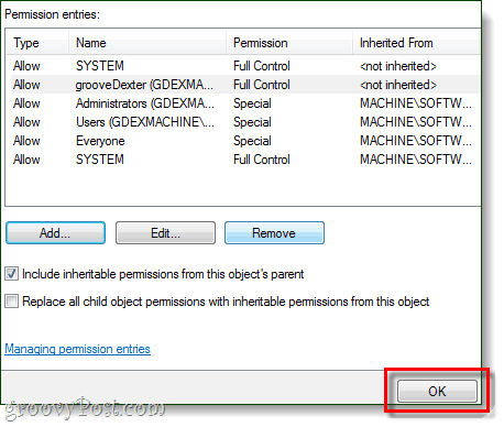 your user should appear on the list with full control, click ok to save changes to registry editor
