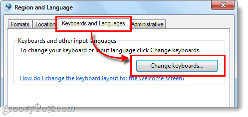 change keyboards windows 7