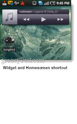songbird android widget and shorcut screenshot