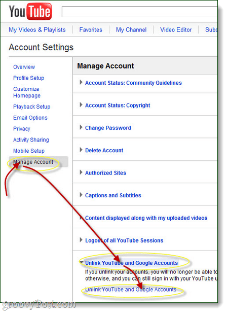 manage your google account and unlink youtube
