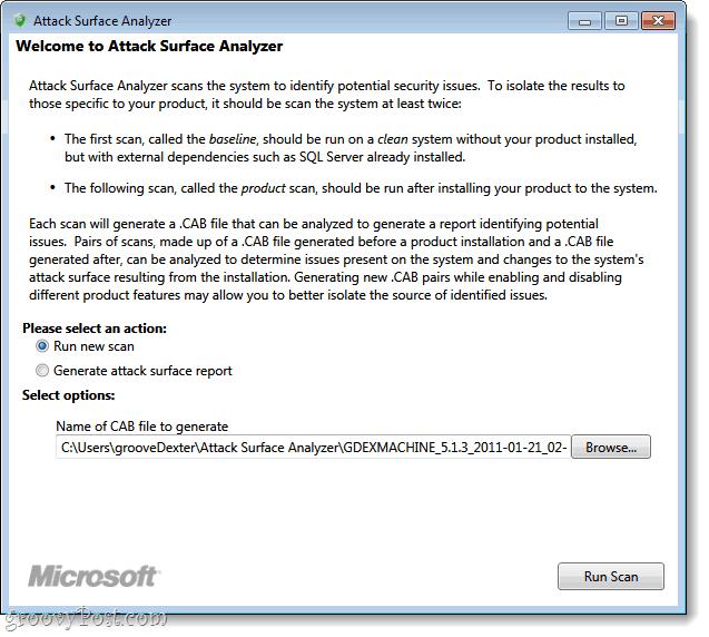 attack surface analyzer run new scan