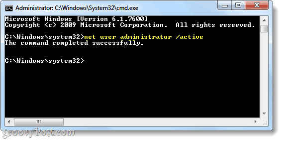 net user cmd command to activate administrator account