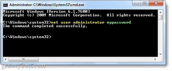 net user command to add a password to an account