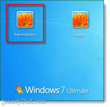 login to administrator account from windows 7