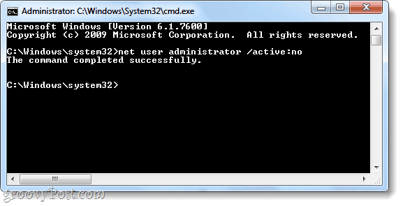 net user command to deactivate windows 7 administrator account
