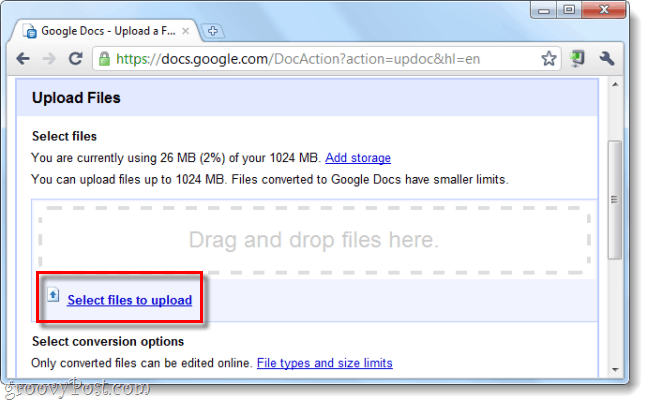 upload files to Google Docs
