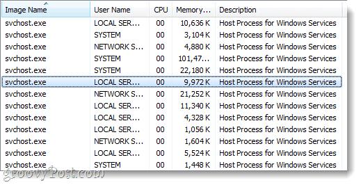 svchost running in windows 7 task manager