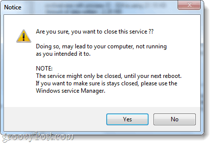 warning about closing services