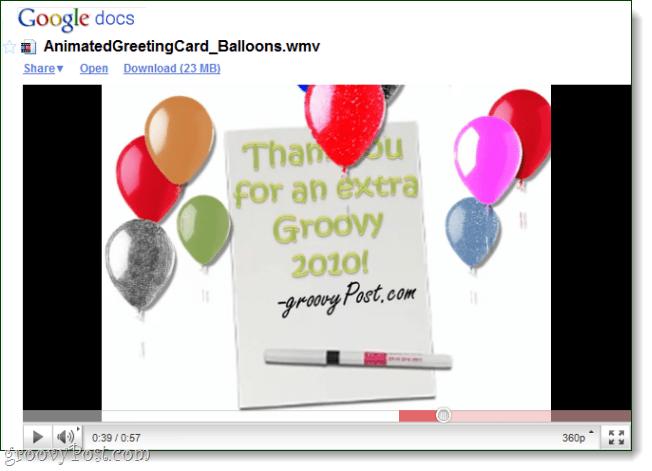 google docs playing a wmv video