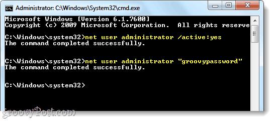 enable admin in windows 7 via net user