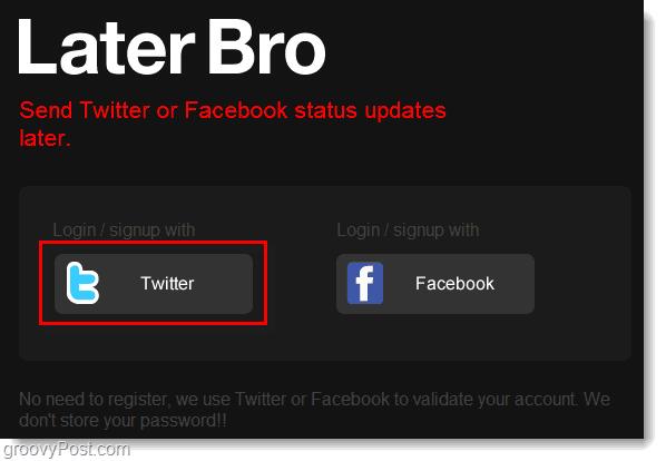 login to twitter via laterbro