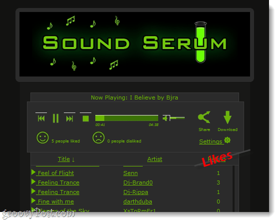 Sound Serum interface and music player