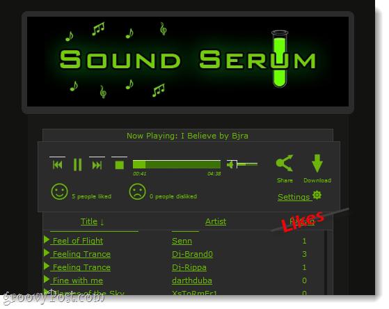 Sound Serum interface and music player