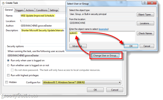 Configure the General Tab of the task and set the user to System