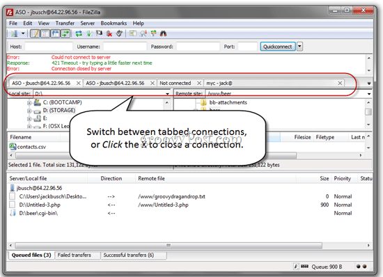 FileZilla Tabbed FTP Connections