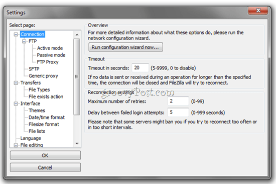 FTP FileZilla Advanced Settings