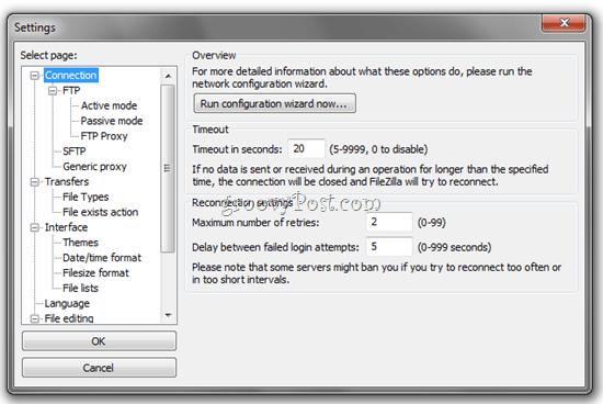 FTP FileZilla Advanced Settings