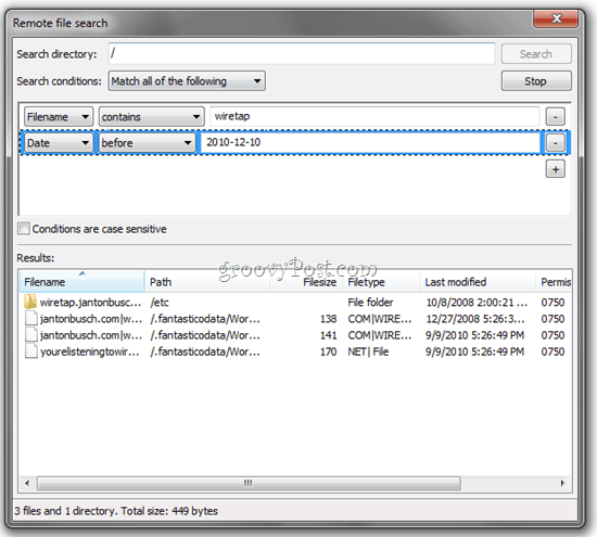 Remote File Search FTP FileZilla