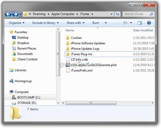 delete temporary itunes files