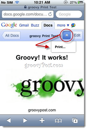 Print Google Docs from iPhone