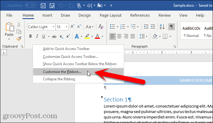 Select Customize the Ribbon in Word