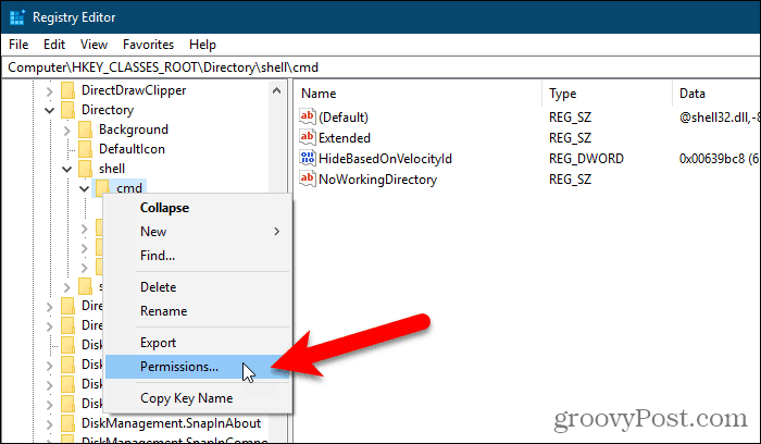 Open the Permissions dialog box for a key in the Windows Registry