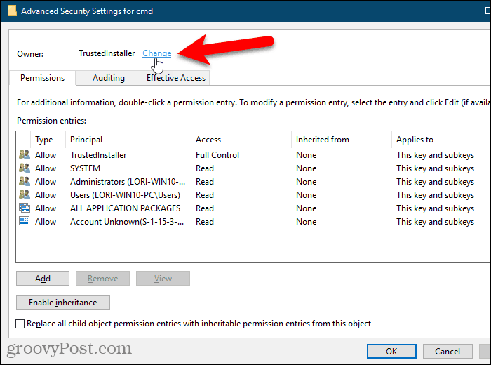 Click the Change link for the Owner of a key in the Windows Registry