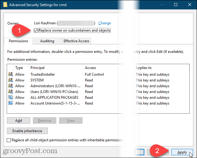 Click Apply on the Advanced Security Settings dialog box in the Windows Registry