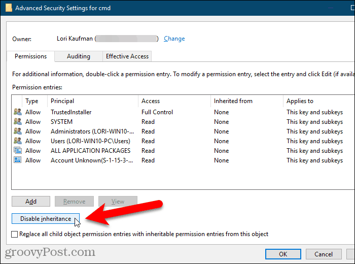 Click Disable inheritance on the Advanced Security Settings dialog box in the Windows Registry