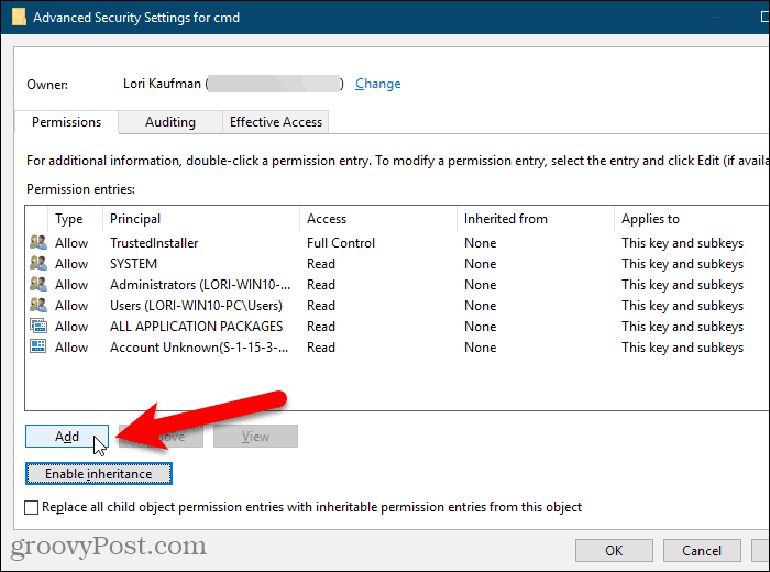 Click Add on the Advanced Security Settings dialog box in the Windows Registry
