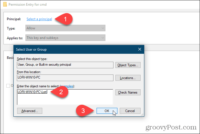 Click Select a principal and select a user or group for permissions in the Windows Registry