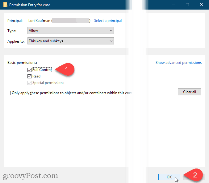 Check Full Control and click OK on the Permission Entry dialog box in the Windows Registry