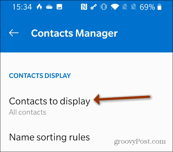 Contacts to Display