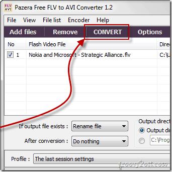 Pazera video transcode convert button