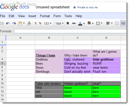 Hide gridlines in google docs