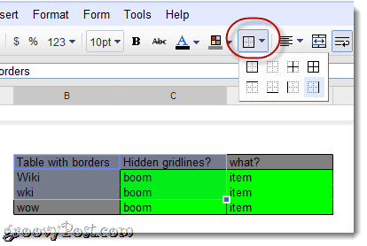 picture of custom gridlines for google docs