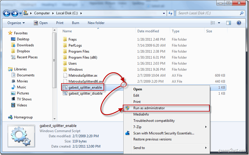 gabest splitter enable run as administrator