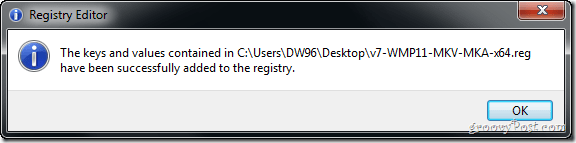 successfully aded registry keys to computer