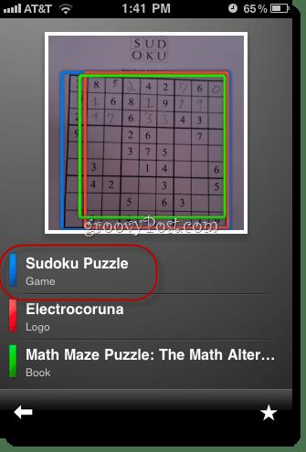 Google Goggles Solves Sudoku iphone