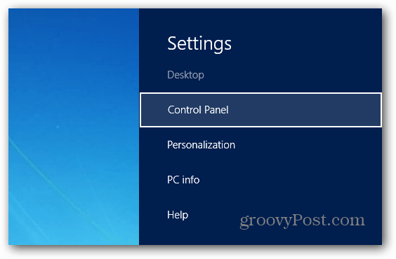 Settings Control Panel