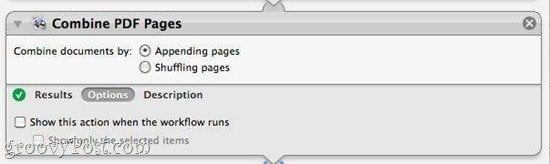 Combine PDFs using Automator in Mac OS X