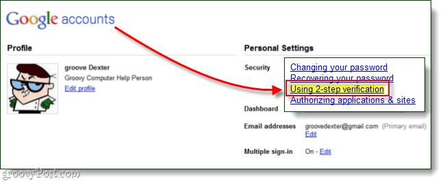 google usin 2 step verification