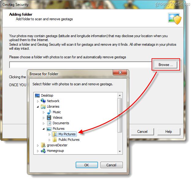 Geotagsecurity photo folder selection screenshot
