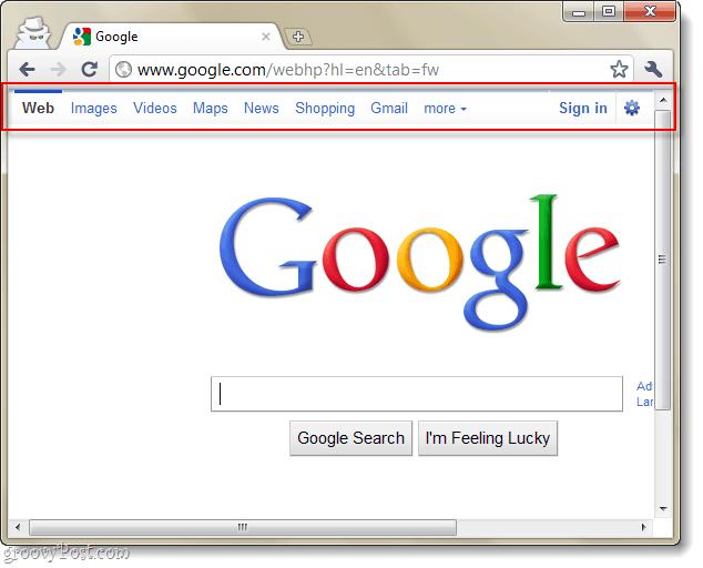 google's new header navigation bar