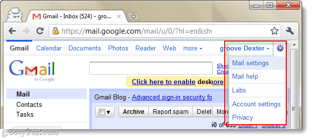 gmail mail settings drop down menu