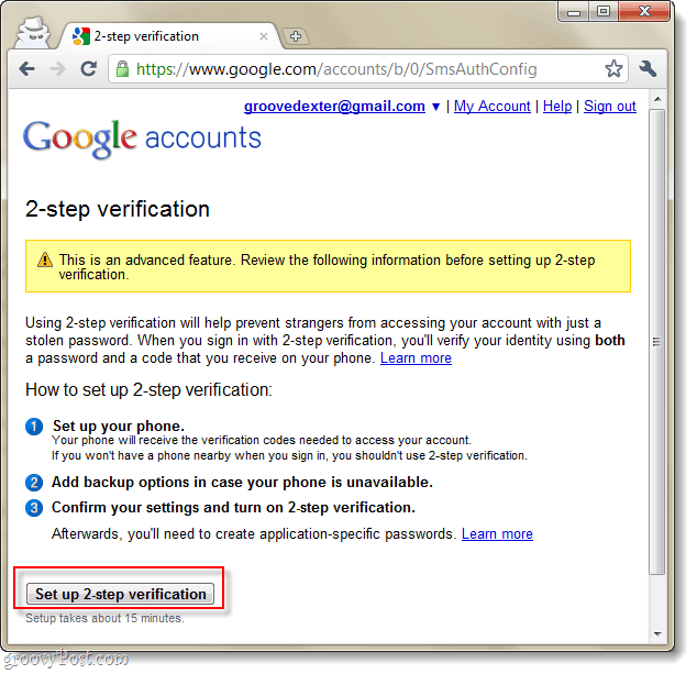 google accounts 2 step verification